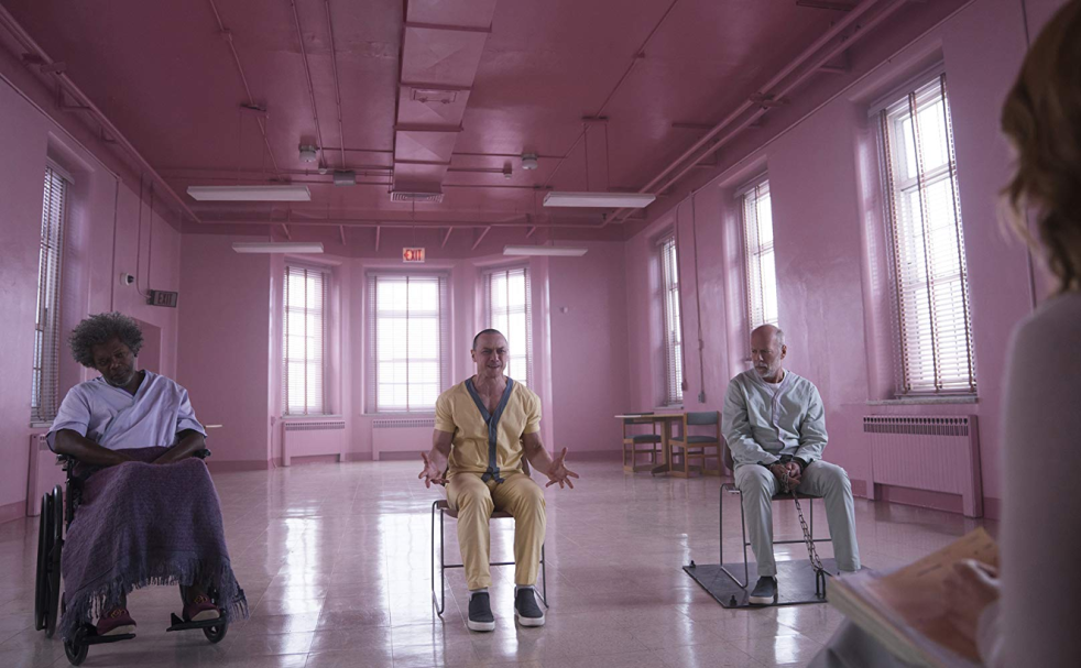 Samuel L Jackson, James McAvoy and Bruce Willis in Glass