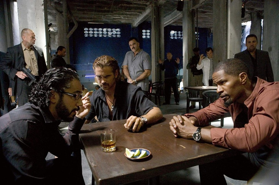 Jamie Foxx, Colin Farrell, and John Ortiz in Miami Vice
